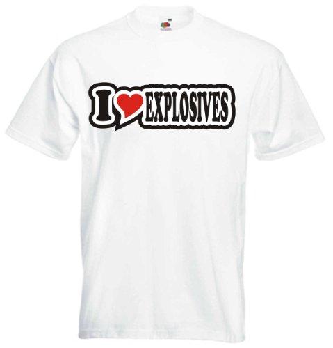 T-Shirt Herren - I Love Heart - I LOVE EXPLOSIVES Weiß