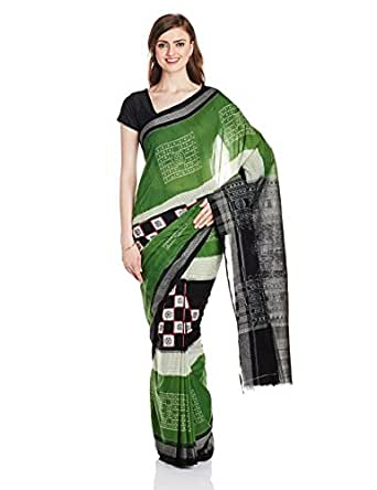 IndusDiva Ikat Silk Cotton Handloom Saree (BLR1400512_Green_Free size)