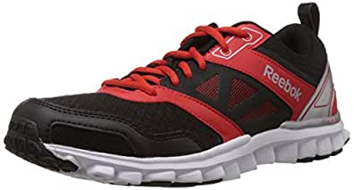 Reebok Men's Realflex Speed 3.0 Black, Red, White and Silver Mesh Running Shoes - 10 UK