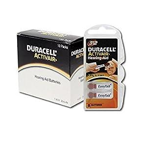 60 x Duracell Activair Hörgerätebatterien Typ 312 braun – Mercury Free 0% Hg