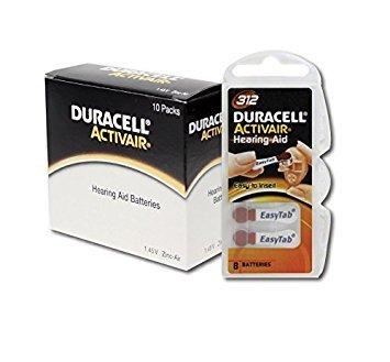 60 x Duracell Activair Hörgerätebatterien Typ 312 braun - Mercury Free 0% Hg (10 Duracell Hörgeräte-batterien)