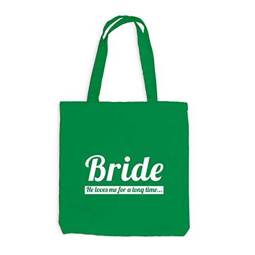 Jutebeutel - Junggesellenabschied - BRIDE He loves me very long time - JGA Braut Polterabend Junggesellen Kellygrün