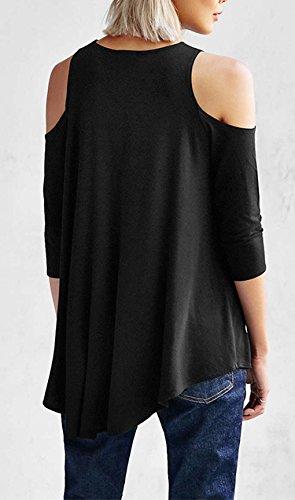 Damen Bluse Damen Elegant Langarm Schulterfrei Festlich Chic Tops T Shirt Blusenshirt Schwarz