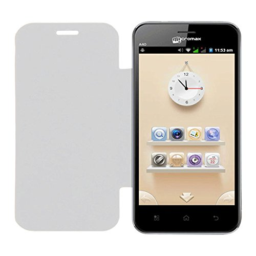 Acm Leather Diary Folio Flip Flap Case For Micromax Bolt A40 Mobile Front & Back Cover White