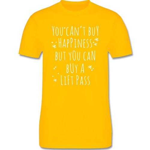 Wintersport - Buy Happiness Lift Pass Ski Snowboard - Herren Premium T-Shirt  Gelb