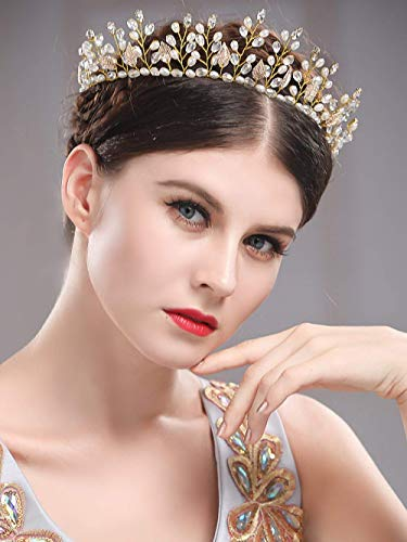 Simsly - Hochzeit, Haar-Ranken, Brautschmuck, Stirnband, Krone, Tiara mit Kristall, Haar-Zubehör für Braut und Brautjungfern, (Gold) FS-185 (Tiara-haar-zubehör)