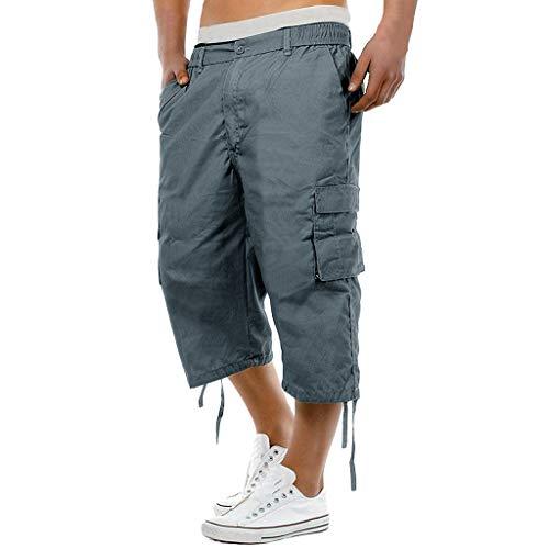 Riou Cargo Shorts Männer 3/4 Capri Hose Herren Sommer Stretch Taille Combat Arbeitshosen Casual Kurz Hose 2019 Neu - Verstellbare Taille Smoking Hosen