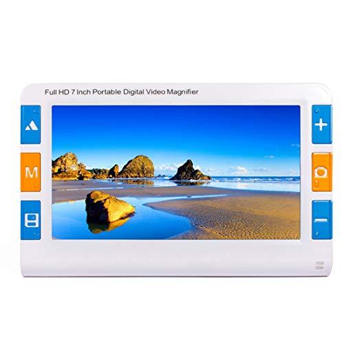 LLC-POWER 7,0 Zoll Elektronische Lupe, 2X-32X Zoom, 26 Farbmodi Hand Sehhilfe, AV/TV-Ausgang, Unterstützung SD-Kartenspeicher, LED-Licht, Für Lesen, Senioren