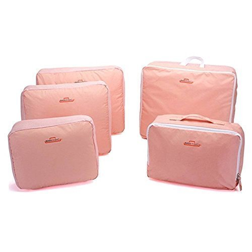 Preisvergleich Produktbild mylifeunit 5 PCS Verpackung Cubes / Aufbewahrungsbeutel / Reise Taschen Duffle (Pink)