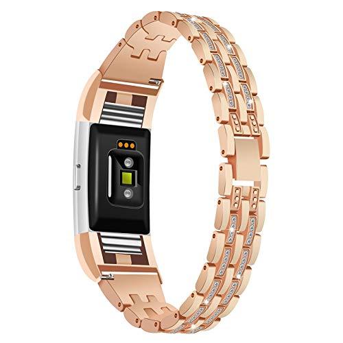 DBoer Compatibile Fitbit Charge 2 Cinturino Bling Diamanti per Le Donne con Cinturini in Lega di Zinco di Ricambio in Metal Bande per Fitbit Charge 2 Smartwatch, Oro Rosa