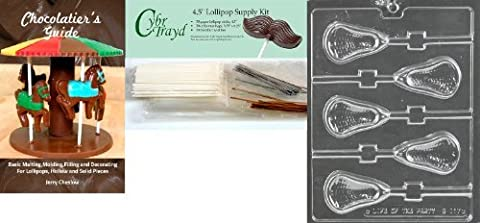 Cybrtrayd Large Lacrosse Lolly Chocolate Mold with Lollipop Supply Bundle, Includes 50 Sticks, 50 Cello Bags, 25 Gold and 25 Silver Twist Ties by Mifgash, LLC, T/A CybrTrayd