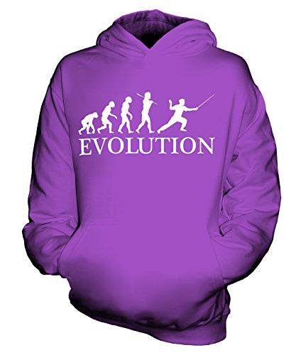 Candymix Fechten Evolution des Menschen Unisex Kinder Jungen/Mädchen Kapuzenpullover, Größe 5-6 Jahre, Farbe Violett