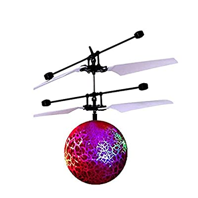 OWIKAR RC Mini Flying Ball, Crystal Hand infrared Induction Drone Helicopter Aircraft Ball Built-in Shinning LED Lighting Colorful FlashingToy for Kids (Cracked Planet)