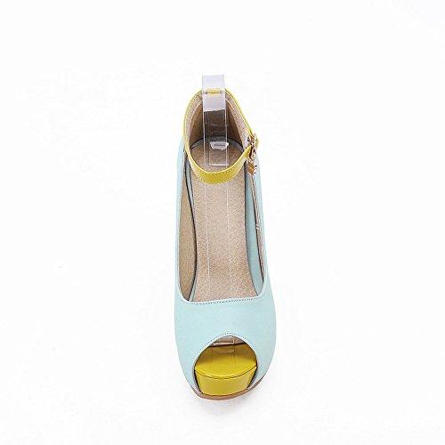 Adee Mesdames metalornament High-Heels polyuréthane Sandales Bleu - bleu