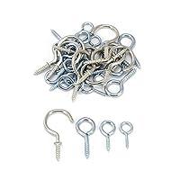 COM-FOUR® 37-teiliges Set Schraubhaken aus Stahl in verschiedenen Größen, zum aufhängen an Decken, Wänden, etc.