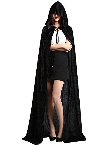 Satinior Unisex in Voller Länge Kapuzenmantel Adult Samt Cape Halloween Party Cosplay Kostüm Umhang (M Größe, Schwarz)