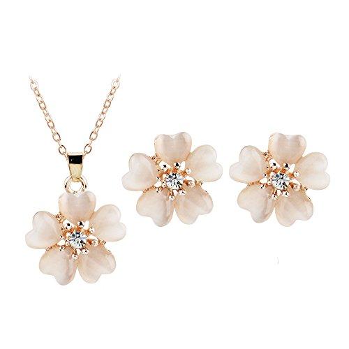 TAOtTAO Necklaces Frauen Blumen Anhänger Halskette Ohrstecker Anzug Schmuck Ornamente -