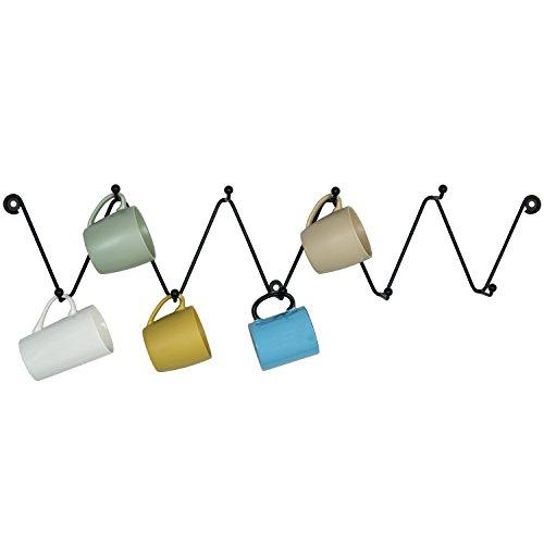 MyGift Metall Zigzag Design 9-Hook Wand montiert Kaffee Tasse Rack, Küche & Bad Handtuchhalter Haken, Schwarz Mug Rack