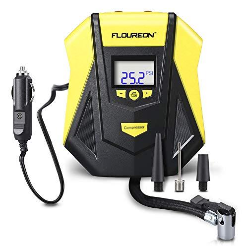 FLOUREON Tragbarer Auto Luftpumpe Elektrischer Reifen Inflator Kompressor Portable Reifenpumpe mit LCD Display 12V für Autos, Fahrräder, Motorräder und Sport-Bälle