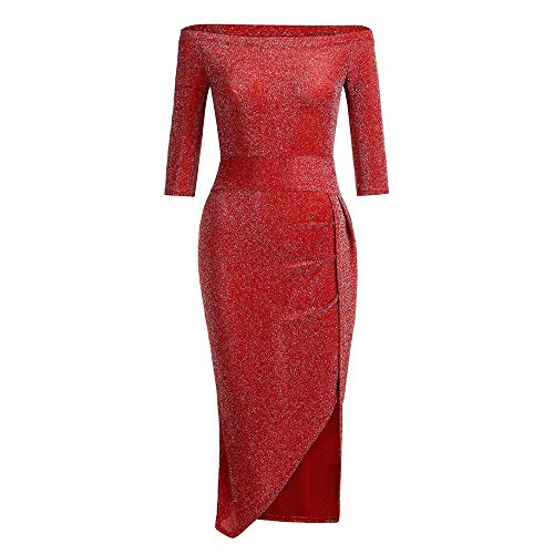 Jiameng abito,gonne,vestiti,donna abito midi con scollo abito retrò classico vestire vestiti, vestito estivo da donna a maniche lunghe con scollo a giro manica da donna (rosso,l)