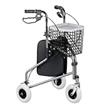 Homecraft Folding Three Wheeled Rollator, Tri Walker with Lockable Cable Brakes, Carry Bag, Basket and Tray, Walking Mobility Aid, Lightweight Foldable Steel Frame, Thick Tyres, Quartz