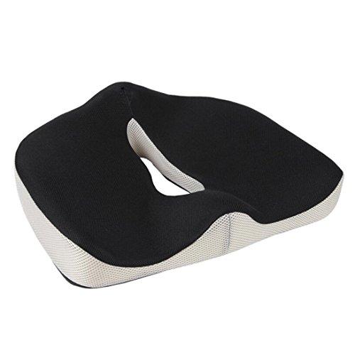 Per Ilh® Memory Foam Cuscino per sedile auto sedile sedia a rotelle ecc.-Poliestere Tessuto di maglia, fondo antiscivolo 45x 38,1x 13cm-kaiki Sedile Pad per sciatica prostata emorroidi lombalgia sul coccige Cuscino (Nero + Bianco)