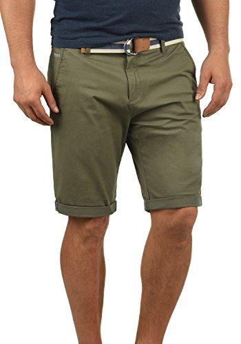 !Solid Monty Herren Chino Shorts Bermuda Kurze Hose Mit Gürtel Aus Stretch-Material Regular-Fit, Größe:L, Farbe:Dusty Oliv (3784) -