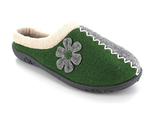 Padders Femme Alpine Pantoufles Green/Grey Felt