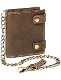 Biker Portefeuille pour homme et femme avec la chaîne Vintage-Style LEAS, cuir véritable, marron - ''LEAS Vintage-Collection''