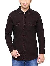Southbay Men's Dark Brown Long Sleeve Denim Casual Shirt Cum Jacket
