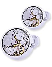 WTJK Gemelos Joyas Camisa Gemelos para Hombre Reloj De Plata Movimiento Gemelos Mecánicos Botones Hombre,