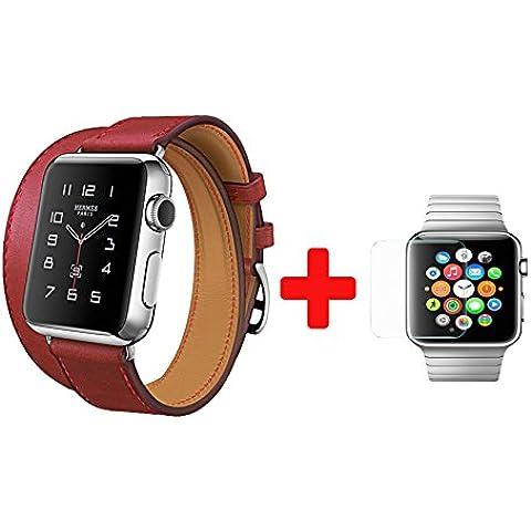 Digi4U HOCO serie arte 3in 1braccialetto cinturino in vera pelle per Apple Watch, sport edition + Free protezione per lo schermo in vetro temperato