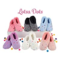 Snoozies Lotsa Dots Ladies Sherpa Fleece Slippers with Soft Non-Slip Sole