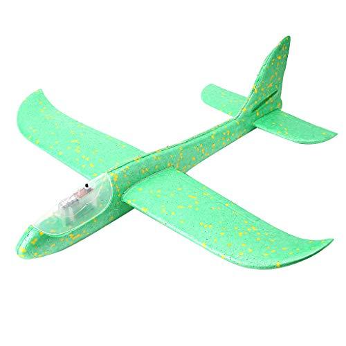 LED Nachtflugzeug Handflugzeug Wurfgleiter Flugzeug Spielzeug Flugzeug Modell Outdoor Lernspielzeug grün (Kinder-gehirn Zu Brechen Halloween)