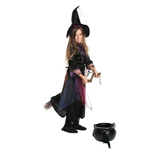 Kostüme Süße Halloween Hexe (Kostümplanet® Hexen-Kostüm Kind Mädchen + Hexen-Hut Kinder Kostüm Hexe Kinderkostüm Halloween und Fasching Farbe lila Größe)
