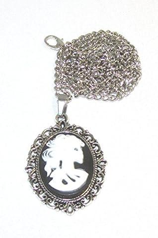 Chain + Pendant 18 x 25 mm Cameo Antique Silver Skull Skeleton Cameo Intaglio Colours Black