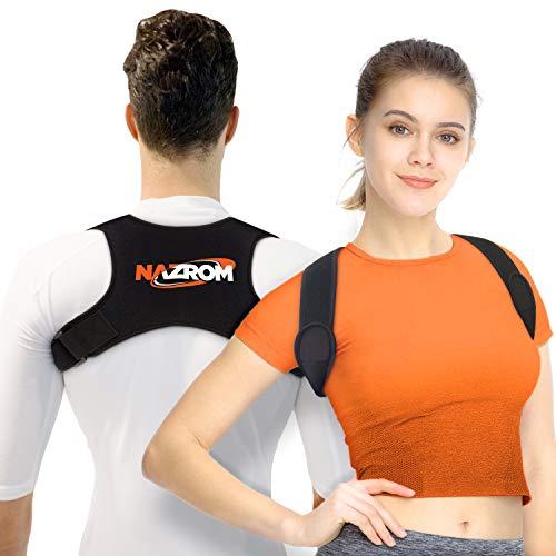 Nazrom Rückenbandage zur Haltungskorrektur - Verstellbarer, elastischer Schultergurt für Herren und Damen - Gegen Nacken- Rückenschmerzen - Für 74-122 cm Brustumfang - Mit eBook-Guide - Schwarz