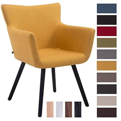 CLP Besucher-Stuhl ANTWERPEN, max. Belastbarkeit 160 kg, Stoff-Bezug, Holz-Gestell aus Buche, Sitzfläche gepolstert, mit Armlehne, mit Bodenschonern Gelb, Gestellfarbe: Schwarz