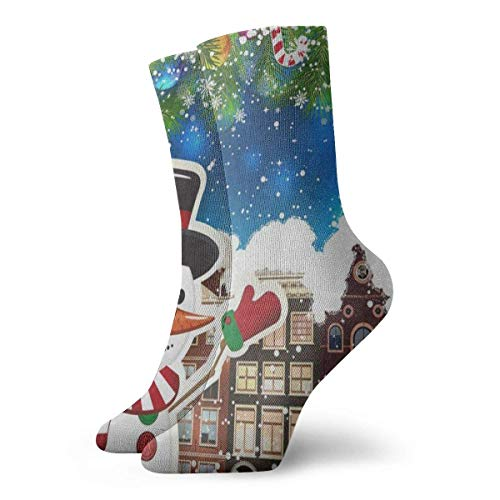 Sportliche Herrensocken Crew Socks Colorful Snow Snowman House Christmas Tree City Vintage Womens Short Boot Stocking Gift Sock Clearance for Girls (Womens Snow Boots Clearance)