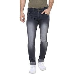 Urbano Fashion Men's Dark Grey Slim Fit Stretchable Jeans (Size : 28)