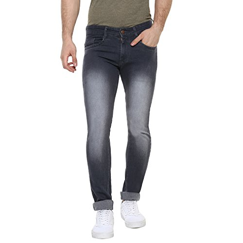 Urbano Fashion Men's Dark Grey Slim Fit Stretch Jeans