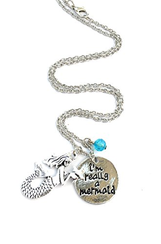 Im-really-a-mermaid-antique-silver-tone-charm-necklace-with-turquoise-bead-in-gift-box