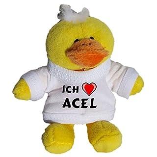Plüsch Hähnchen Schlüsselhalter mit einem T-shirt mit Aufschrift mit Ich liebe Acel (Vorname/Zuname/Spitzname)