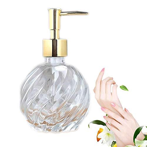 AOLVO Dispensador de jabón de Vidrio soplado, 9 onzas, dispensador de jabón de lavandería, Jarra de Cristal Transparente, dispensador de jabón para baño, tocador, Fregadero de Cocina, encimeras