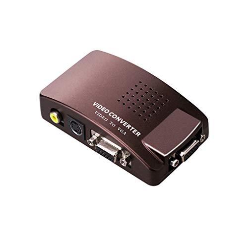 Lindahaot Universal-NTSC PAL VGA auf TV AV RCA-Signal-Adapter-Konverter Video Switch Box Ersatz für Computer-Laptop-PC Kaffee 100 * 56 * 26mm - Ntsc-vga-adapter