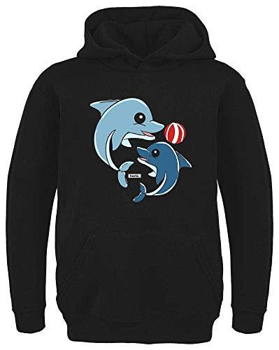 Hunde Delfin Kostüm - HARIZ Kinder Hoodie Delfine Spielend Mit Wasserball Tiere Zoo Plus Geschenkkarten Schwarz 164/14-15 Jahre