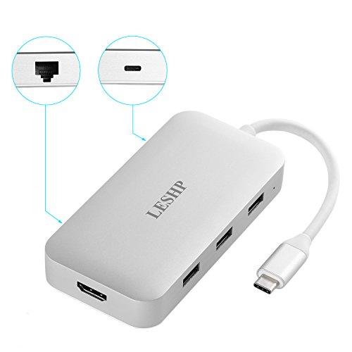 LESHP USB Tipo C a 4K HDMI USB3.0 Gigabit Ethernet Tipo C, Adattatore Custodia in alluminio PD Caricatore Adattatore AV digitale AV