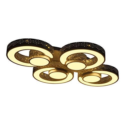 Euroton LED Deckenleuchte 2036b-4 Black mit Fernbedienung Lichtfarbe/Helligkeit einstellbar Acryl-Schirm schwarz lackierter Metallrahmen durchbohrtes Design Energieeffizienzklasse: A+ (2036b-4)