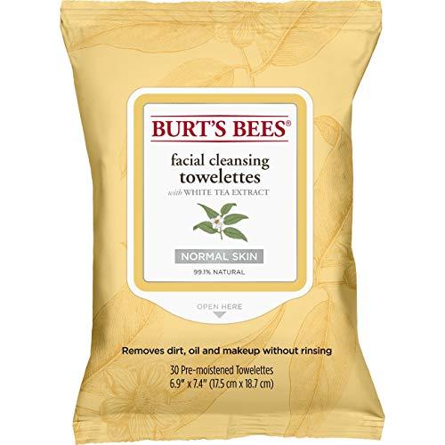 Burt's Bees Natürlich  Feuchttücher zur Gesichtsreinigung für normale Haut mit Weißtee-Extraxt, 1er Pack x 30 Stück - Burts Bees Aloe
