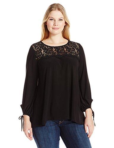 karen-kane-womens-plus-size-lace-yoke-tie-sleeve-top-black-1x